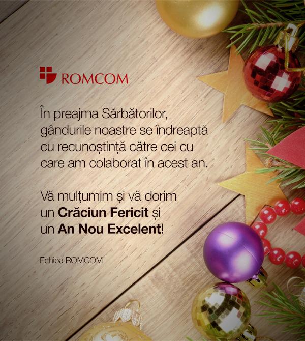 In preajma Sarbatorilor, gandurile noastre se indreapta cu recunostinta catre cei cu care am colaborat in acest an. Va multumim si va dorim un Craciun Fericit si un An Nou Excelent!